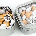 M&M's personalizzate per il matrimonio in scatole di latta