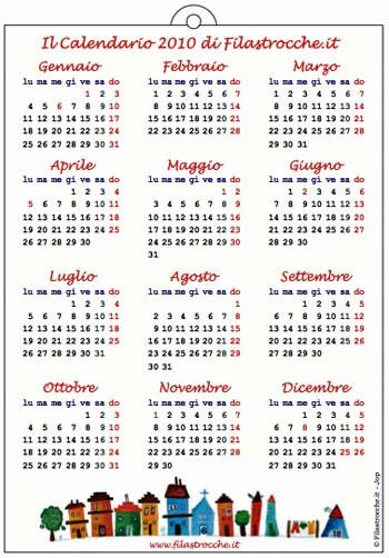 Il Calendario Tradizionale da stampare di Filastrocche.it