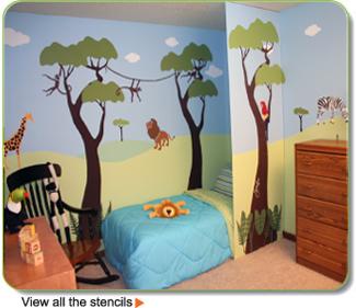 Cameretta stencil giungla for Lavoretti per decorare la stanza
