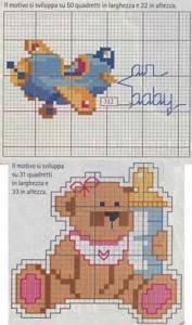 schemi per lenzuolini a punto croce orsetto aeroplano