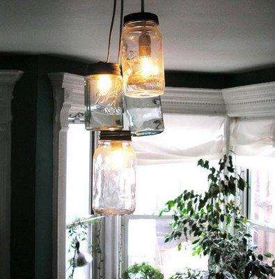 riciclare-vasi_-vetro_-lampadario