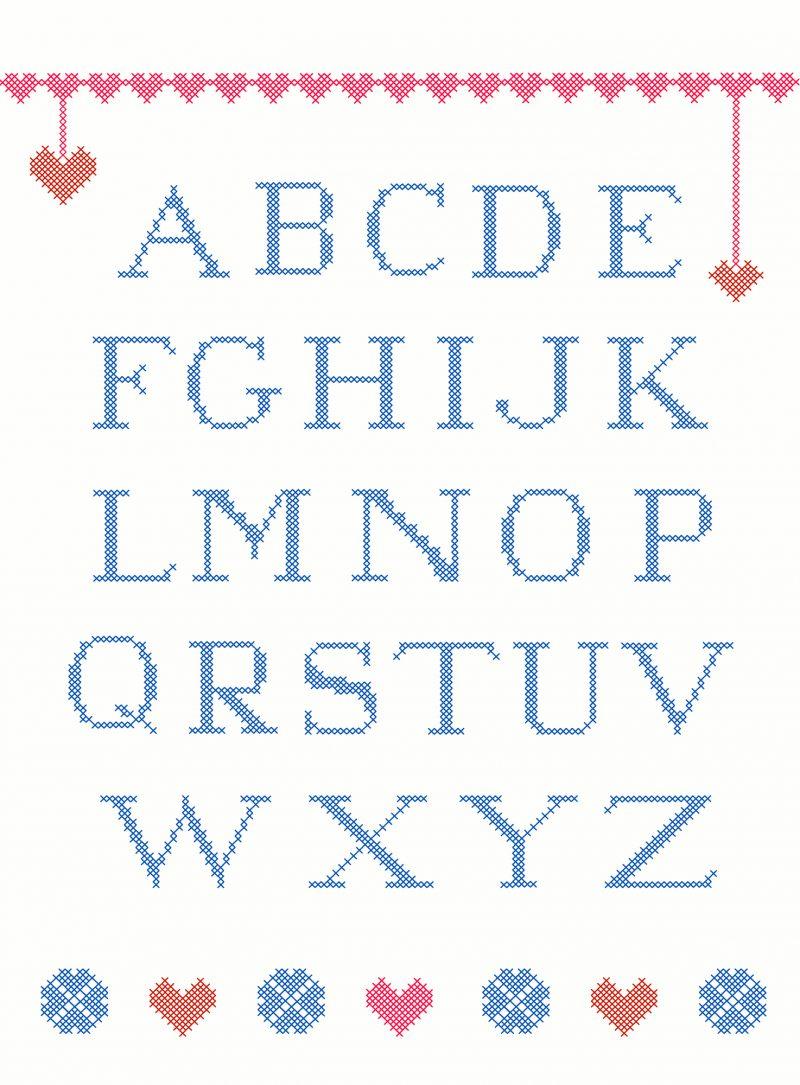 schemi dell'alfabeto a punto croce facile