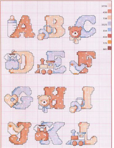 Punto croce schemi dell 39 alfabeto for Alfabeti a punto croce per bambini