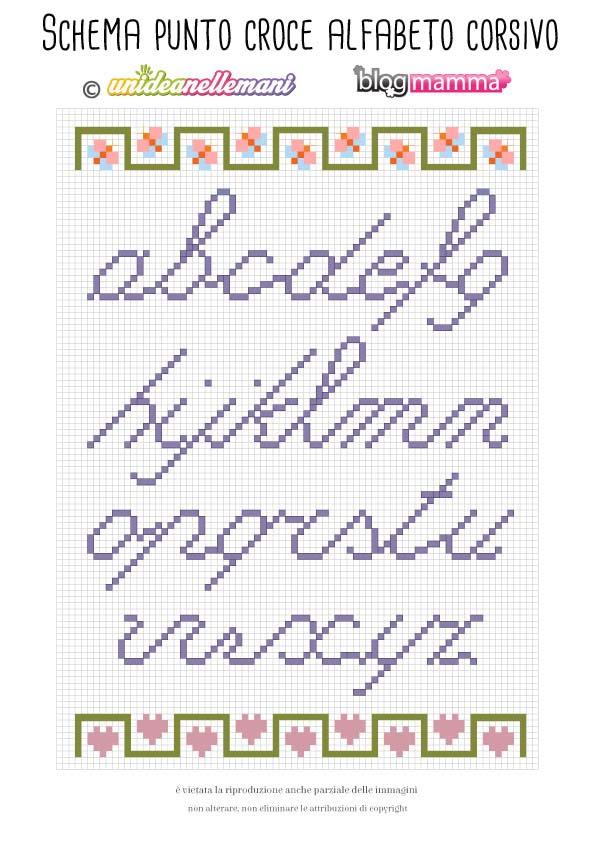 schemi alfabeto punto croce in corsivo
