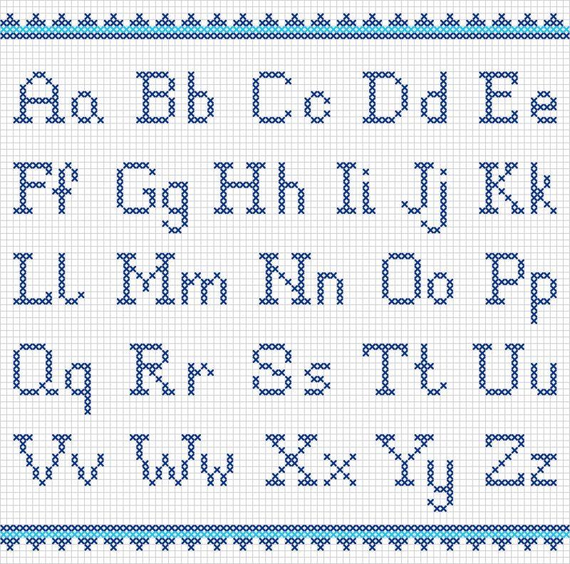 schemi alfabeto a punto croce maiuscolo e minuscolo