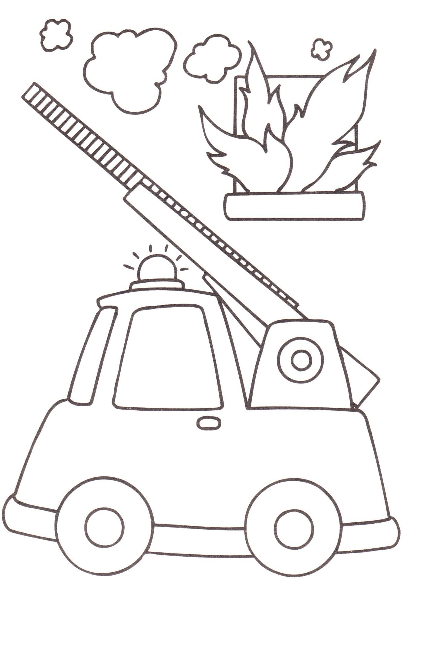Disegni bambini stampare colorare camion pompieri for Disegni di casa da stampare e colorare
