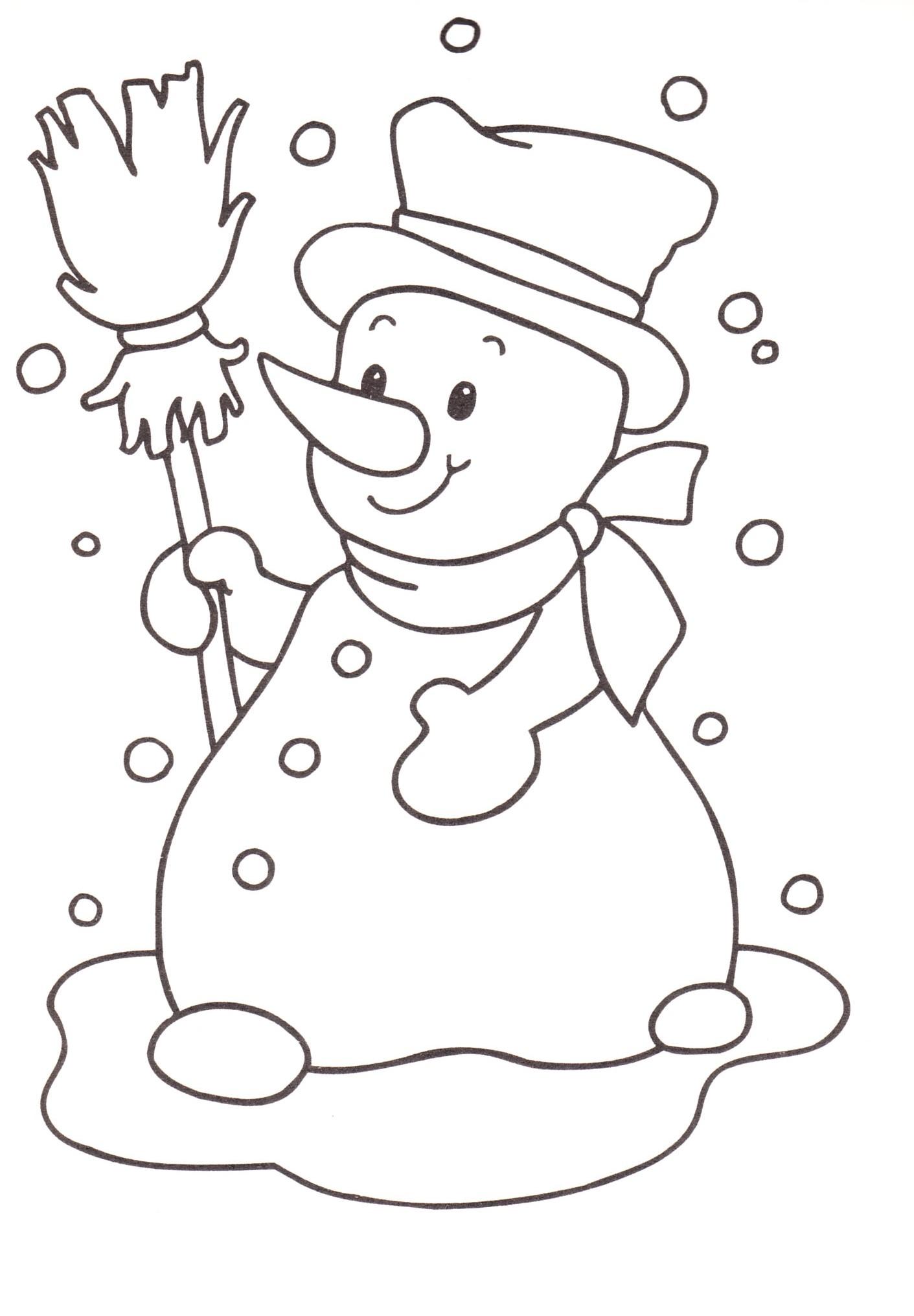 disegni bambini stampare colorare pupazzo di neve