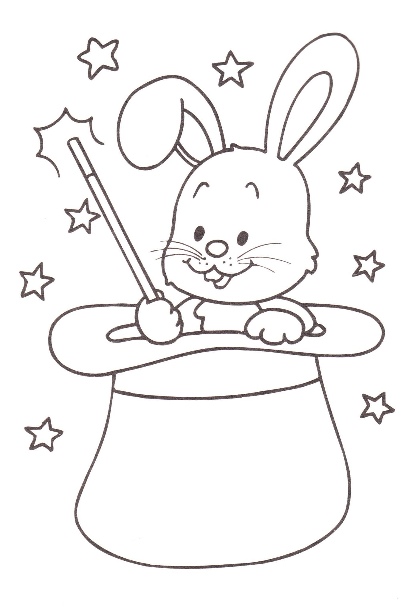 Disegni stampare colorare bambini coniglio cilindro for Disegno coniglio per bambini