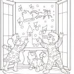 disegni-stampare-colorare-natale-bambini-salutano-babbo-natale