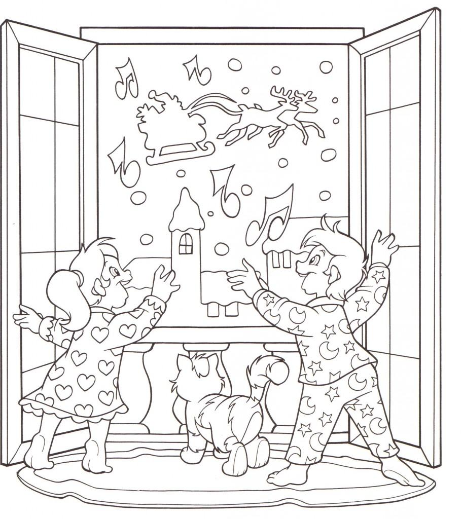 Disegni stampare colorare natale bambini salutano babbo for Disegno di finestra aperta