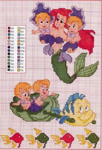 Ariel schemi punto croce principesse disney for Disney punto croce schemi gratis