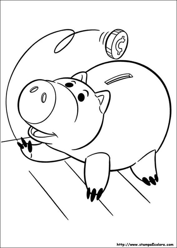 Disegni colorare salvadanaio maialino toy story for Maialino disegno per bambini