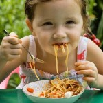 Four-year-old Poppy Smart eating spaghetti.