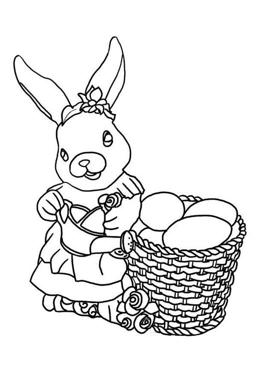 disegni-da-colorare-coniglio-cesto-di-uova
