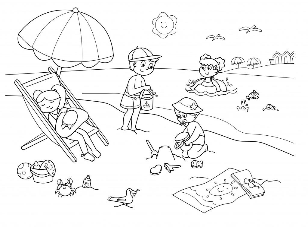 Vacanze bambini disegni da colorare bambini in spiaggia for Disegni moderni della casa sulla spiaggia