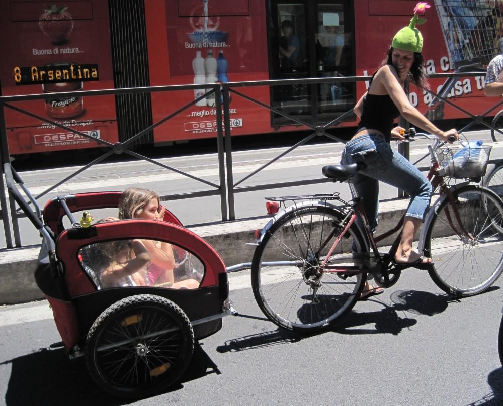 bicicletta con rimorchio