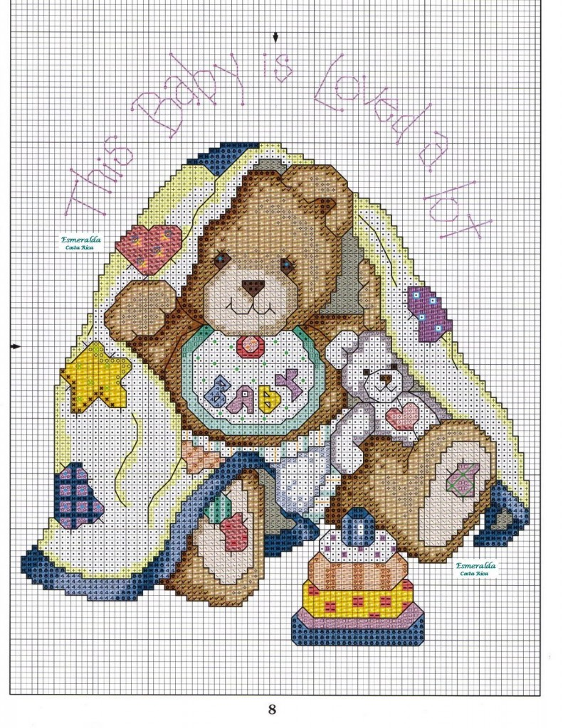 Punto croce orsetto for Ricami punto croce per neonati