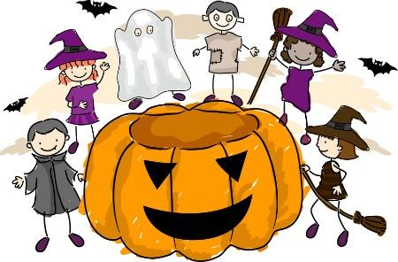 zucca di halloween e bambini