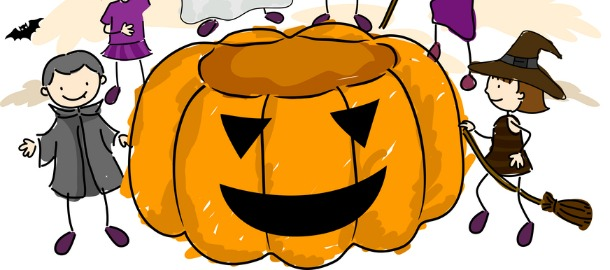 zucca di Halloween e bambini in costume