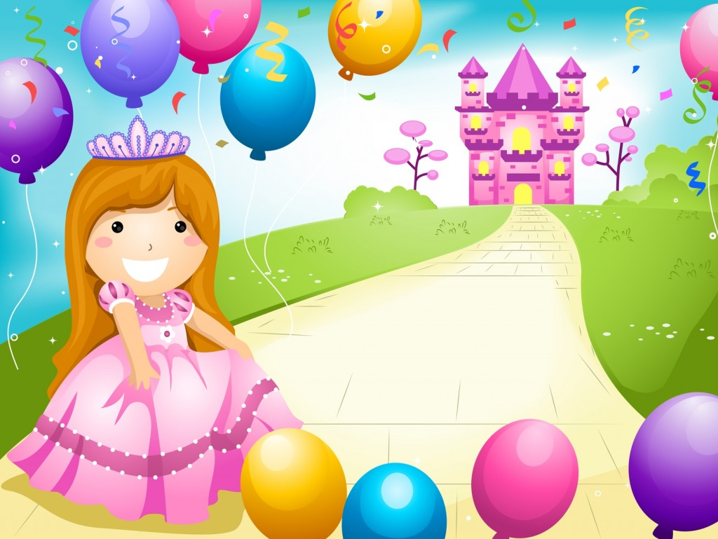 Party Invitation Featuring a Kid Dressed in a Princess Costume and Surrounded by Balloons