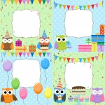 Set of vector birthday cards with cute owls.