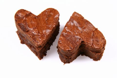 brownies a cuore per festa del papà