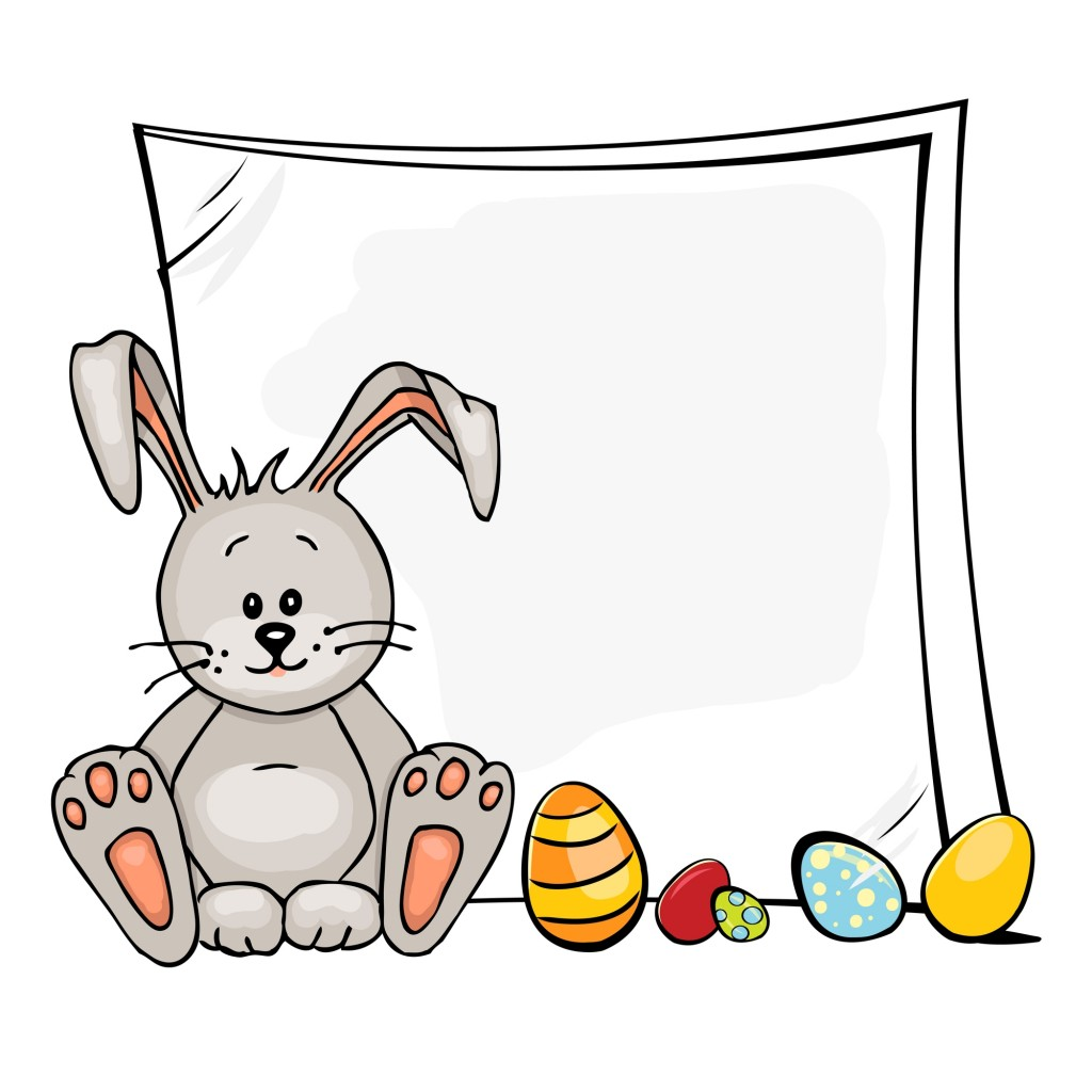 Happy Easter illustration of baby rabbit and easter eggs.
