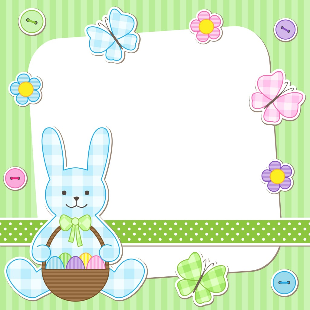 Easter card with bunny holding basket with painted eggs