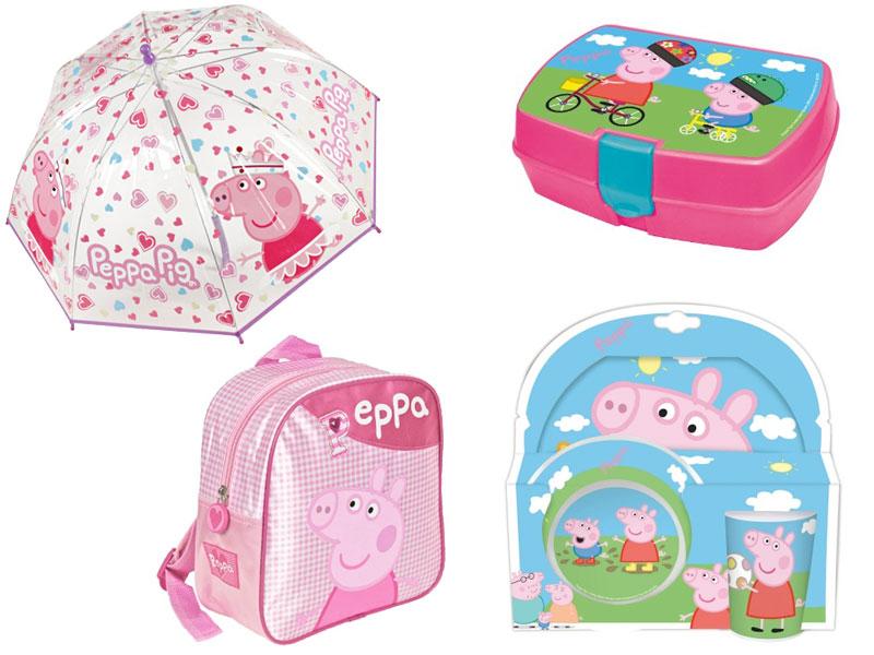 Zaino, ombrello, portamerenda e set pappa Peppa Pig