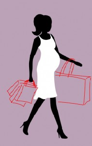 a pregnant woman with shopping bags