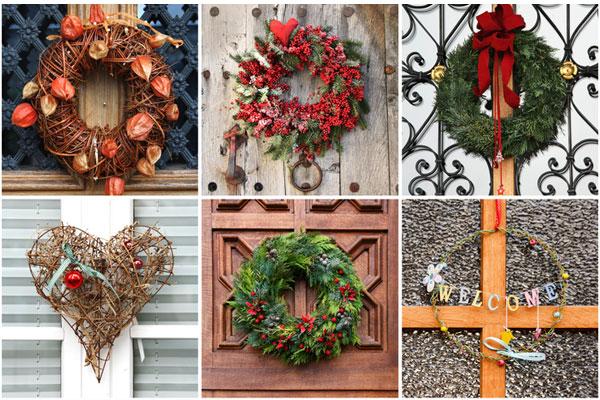 Idee per fare una ghirlanda di natale - Corone natalizie da appendere alla porta ...
