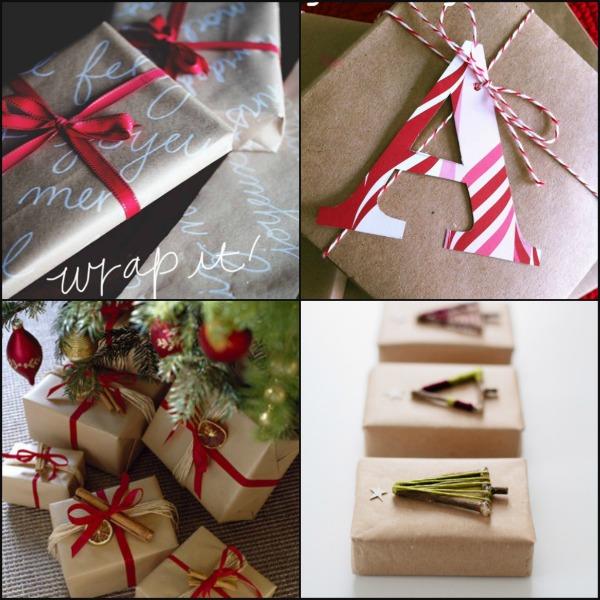pacchetti di Natale con carta da pacco