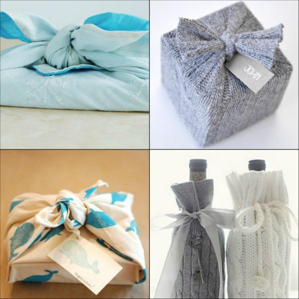 collage di idee per impacchettare con la stoffa