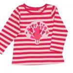 Maglietta da bambina a righe e con cuori