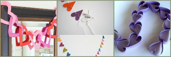 collage di ghirlande con cuori