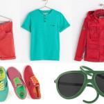 I colori più allegri per scarpe, abbigliamento e occhiali da sole. In alto: capi Zara Kids, stringate Gioseppo e occhiali da sole pieghevoli  Al e Ro Design