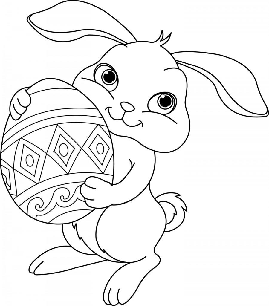 coniglietto con uovo di Pasqua da colorare
