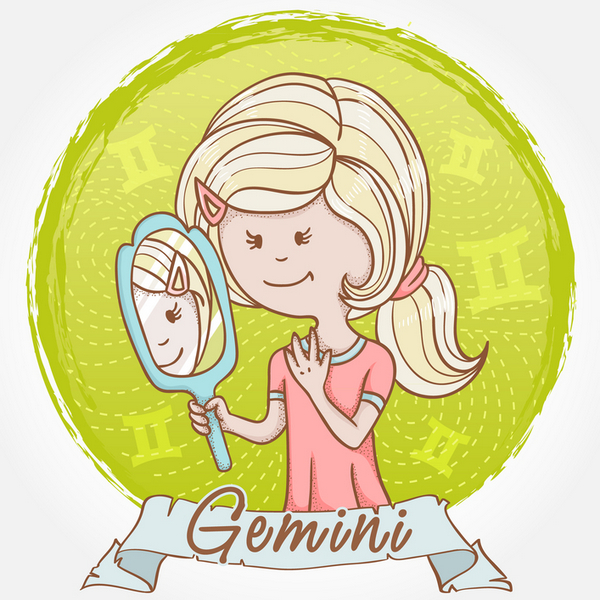Illustration of Gemini zodiac sign