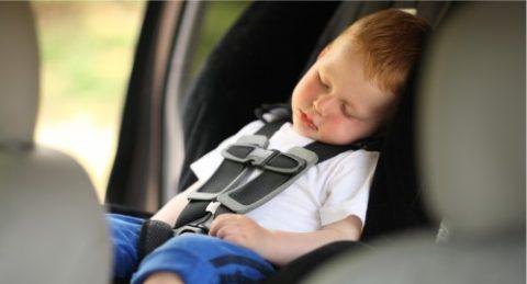 bambino dorme in macchina