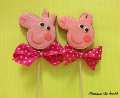 Biscotti decorati per regalini fine festa di Peppa Pig