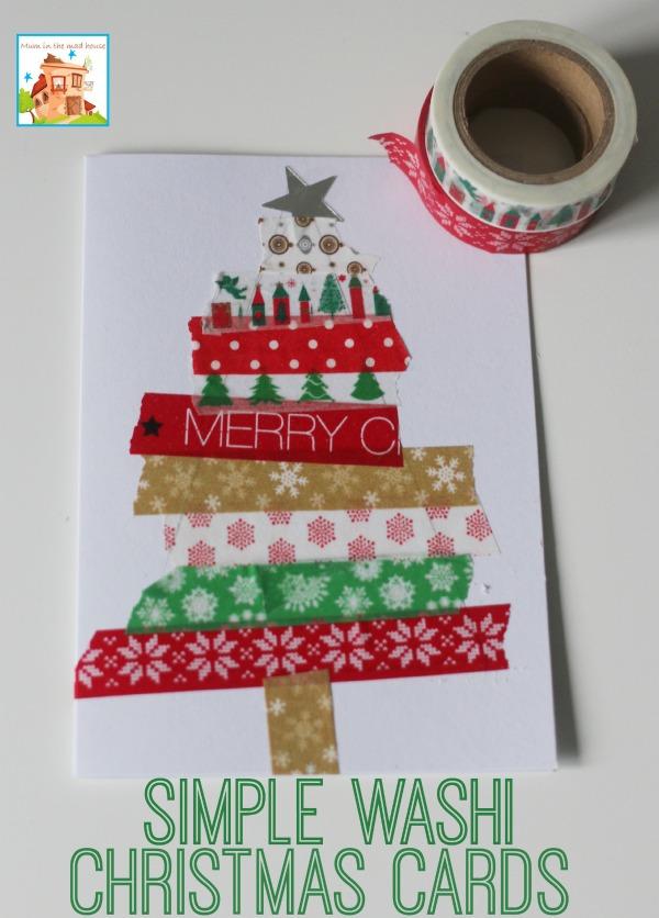 biglietto di Natale con i washi tapes