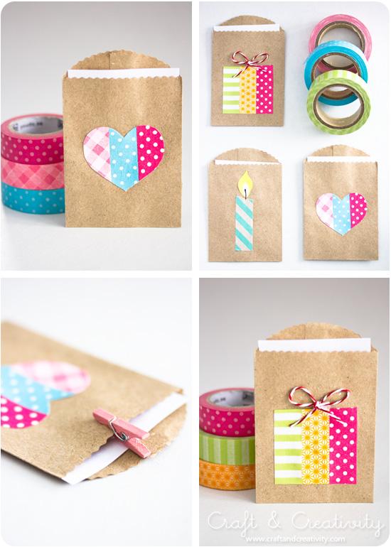 biglietti e pacchetti di Natale con i washi tapes