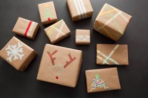 pacchetti e biglietti di Natale con i washi tapes