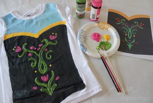Costume di carnevale Principessa Anna di Frozen_bustino dipinto a mano