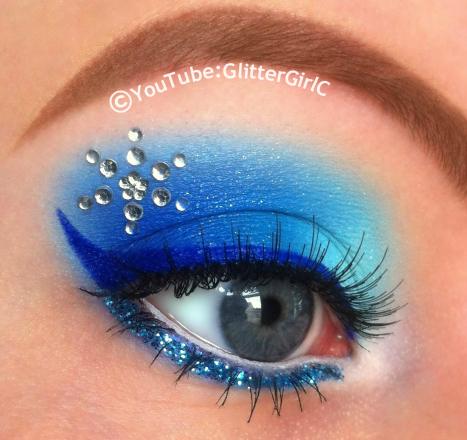 trucco principessa Elsa di frozen azzurro e argento