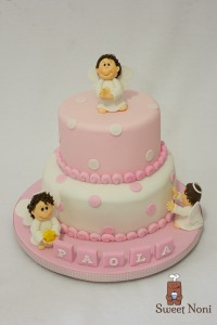 Torta angelo in pasta di zucchero_rosa
