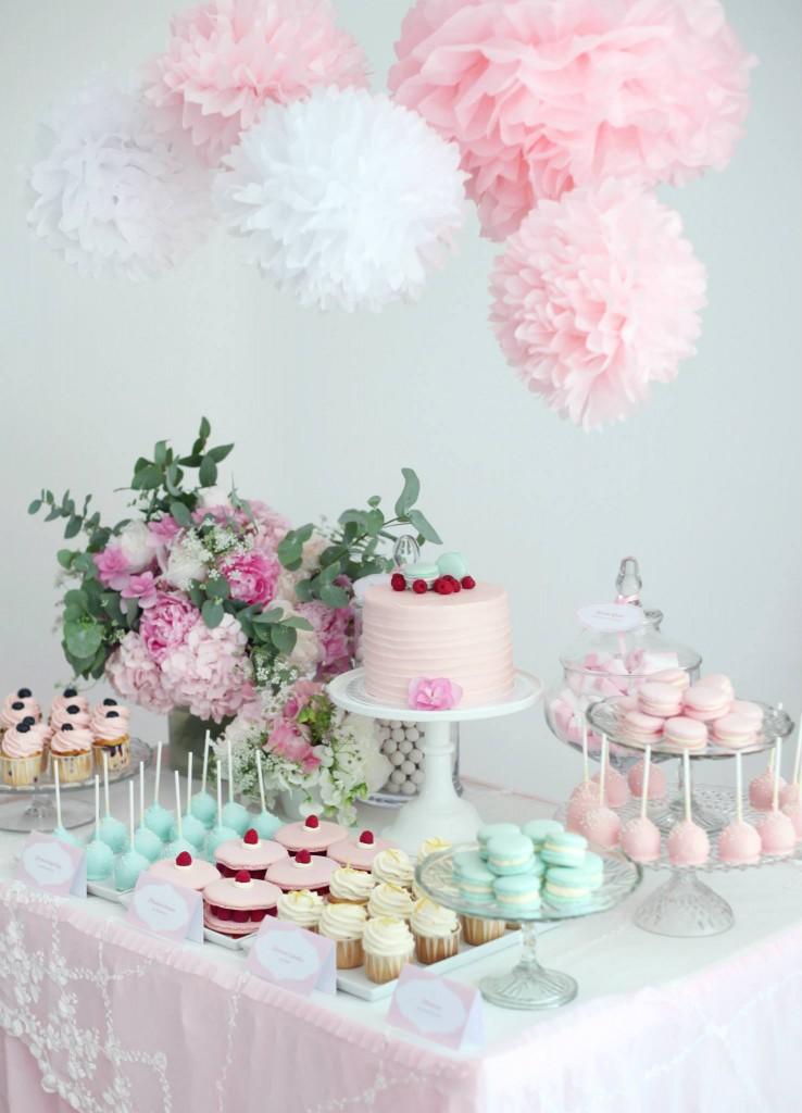 buffet dei dolci per cerimonie in rosa
