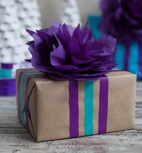fiori di carta velina fai da te_bomboniere viola