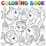 Coloring book various fish theme 1