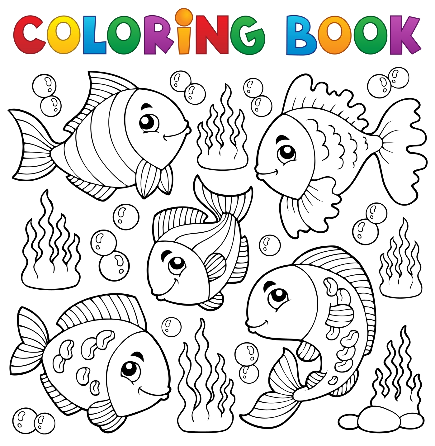 Coloring book various fish theme 1 for Immagini di pesci da colorare